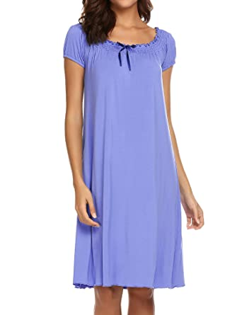 1f051c422 Ekouaer Women's Victorian Nightgown Off The Shoulder Sleepwear Vintage  Lounge Dress,Light Blue,Small