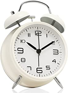 """Betus [Non-Ticking 4"""" Twin Bell Alarm Clock - Metal Frame 3D Dial with Backlight Function - Desk Table Clock for Home & Office - Milk White"""