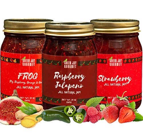 - Green Jay Gourmet Favorites Jam Collection - Raspberry, FROG, Strawberry Jam - All-Natural Fruit Jam Bundle - Vegan, Gluten-free Jam - No Preservatives or Corn Syrup - Made in USA - 3 x 20 Ounces
