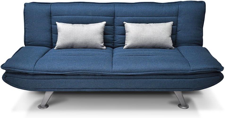 SAMIRA Canapé Lit en Tissu Bleu Marine Canapé 3 Places Mod. Iris avec des Coussins