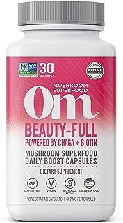 product image for Om Beauty-Full Mushroom Capsules, Mushroom Blend Plus Biotin, with Chaga, Maitake, Hair Skin Nails Mushroom Supplement, 90 Count (30 Day Supply), Vegan