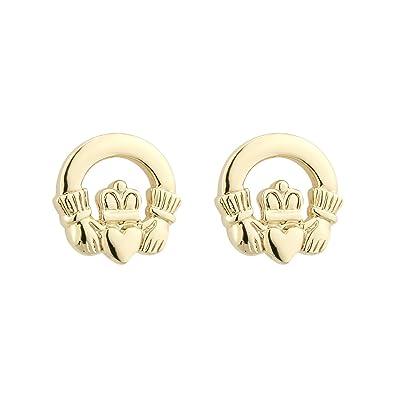 33fa0fb048add Claddagh Stud Earrings Irish Gold Plated Made in Ireland