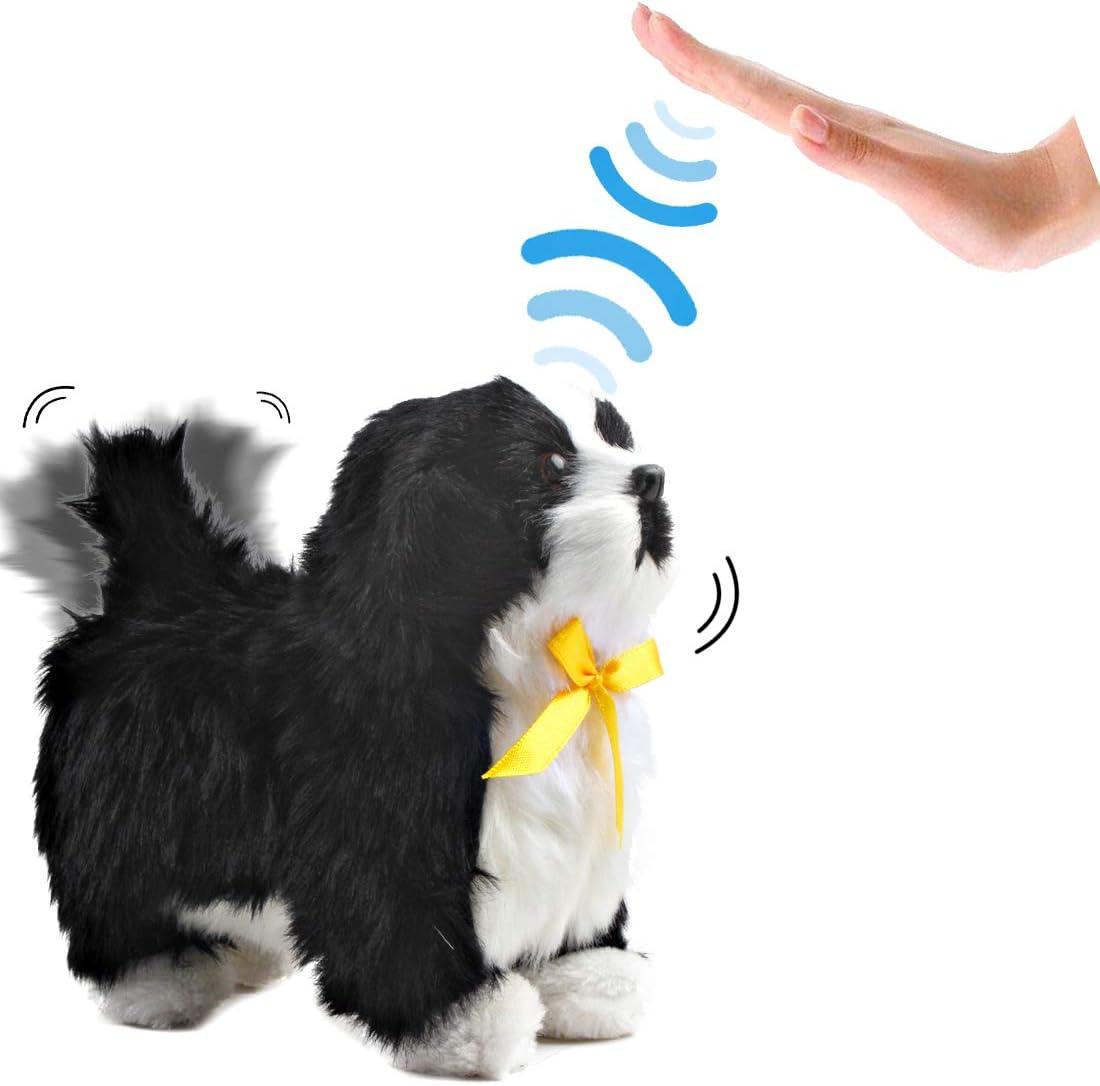 deAO Mascota Interactiva Perrito Robot Inteligente Juguete Electrónico con Ladridos, Movimientos y Sensor al Tacto (Blanco y Negro)