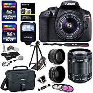 "Canon EOS Rebel T6 Digital SLR Camera Kit (New Model for T5), EF-S 18-55mm f/3.5-5.6 IS II Lens, 50"" Polaroid Tripod, Memory Cards, Canon case and Accessory Bundle"