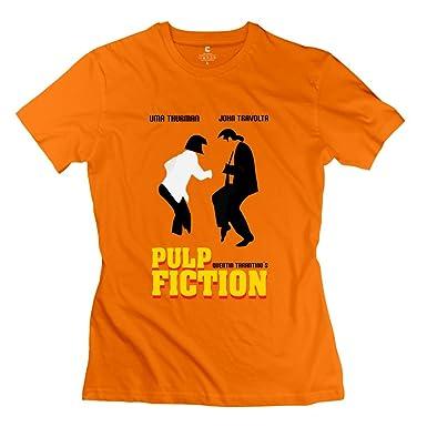 d866d920 Amazon.com: Fire-Dog Women's Pulp Fiction Dance Tees Orange: Clothing