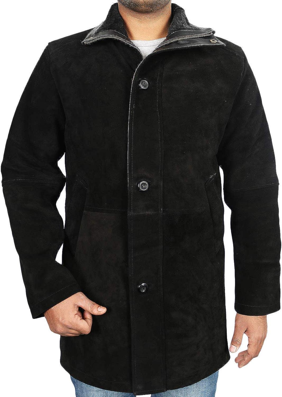 Laverapelle Mens Genuine Cow Suede Leather Coat Black, Officer Coat 1502774
