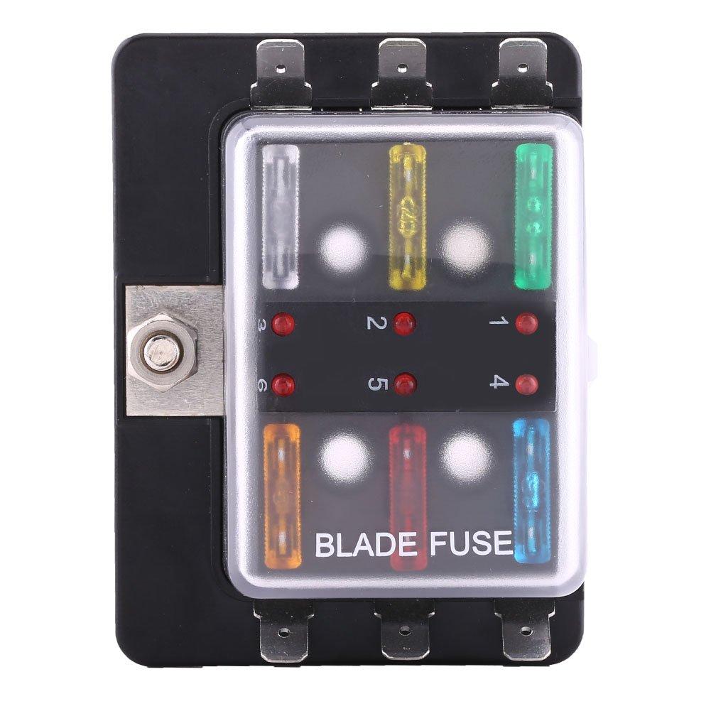 Soporte para bloque de cuchilla de circuito de 6 ví as, caja de fusibles Keenso, portafusibles con kit de luces LED de advertencia para coche barco marino Trike 5A 10A 15A 20A 25A 30A LED indicador
