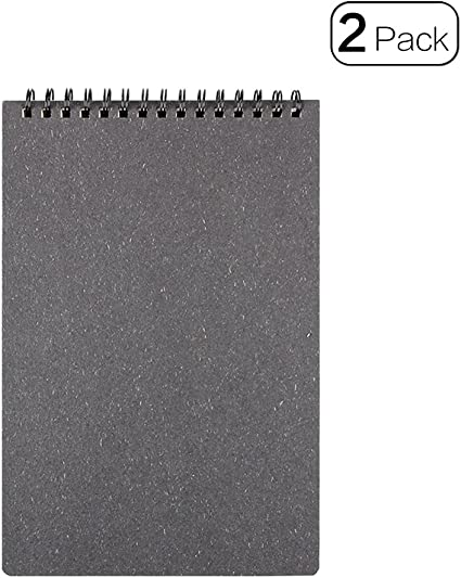 Retro Top cuaderno de espiral A5 Tamaño bloc de notas para oficina y material escolar, pack de 2, color negro: Amazon.es: Oficina y papelería
