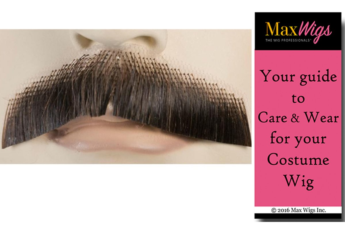 M61 Turned Down Mustache Color Black - Lacey Wigs Human Hair Military General Einstein 19th Century Lace Backed Hand Made Facial Bundle With MaxWigs Costume Wig Care Guide