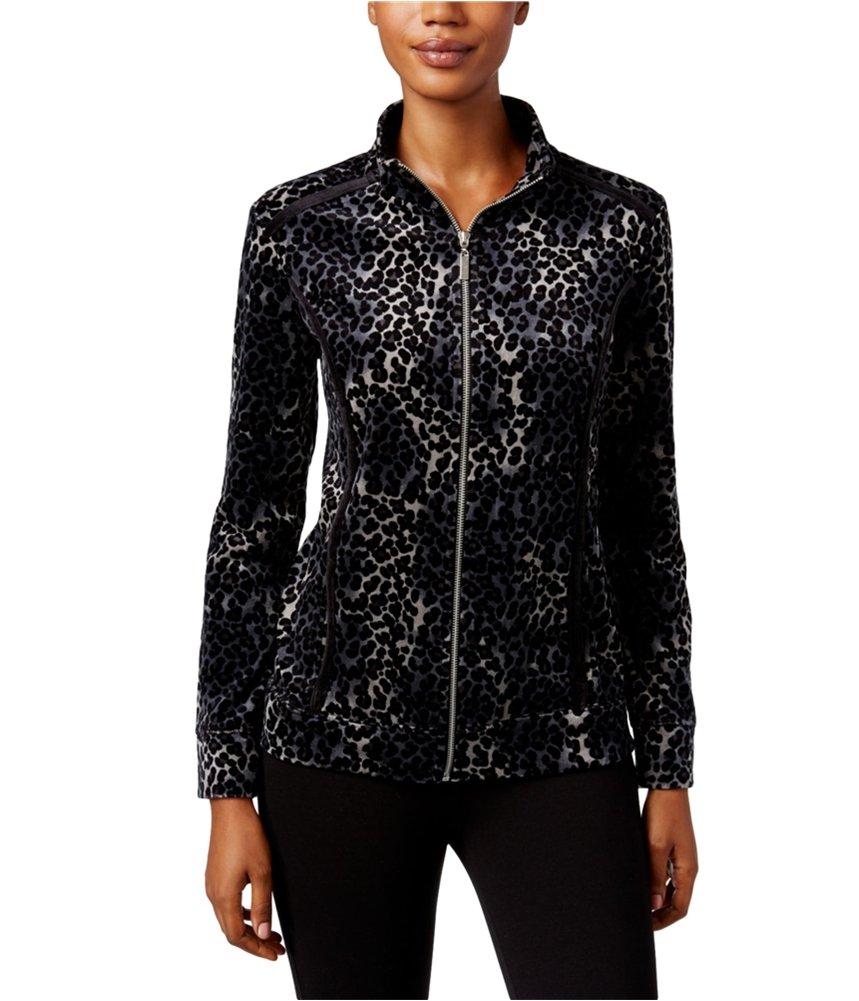 Karen Scott Womens Velour Print Track Jacket Black PP - Petite