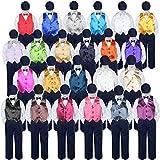 5pc Baby Toddler Kid Boy Formal Suit NAVY Pants Shirt Vest Bow tie Hat Set Sm-4T (4T, Lilac)