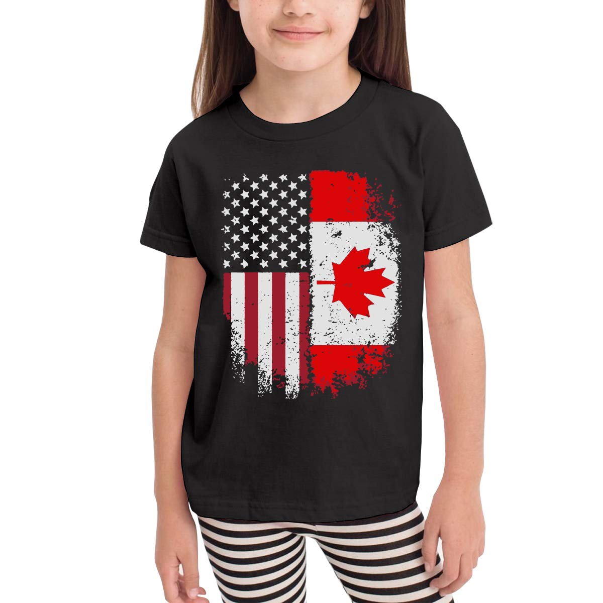 Baby Girls Little Boys Canadian American Flag Soft Short Sleeve Tee Tops Size 2-6
