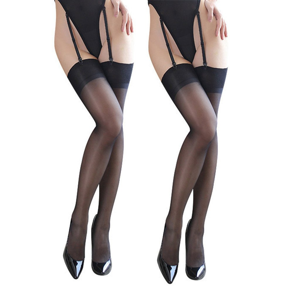 Women's thin Sheer Thigh-High Stockings Adjustable Garter Belt pack of 3