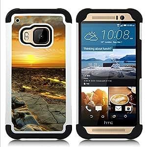 """HTC One M9 /M9s / One Hima - 3 en 1 impreso colorido de Altas Prestaciones PC Funda chaqueta Negro cubierta gel silicona suave (Puesta del sol del desierto Paisaje"""")"""