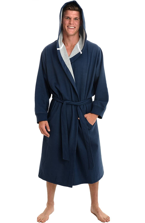 Del Rossa Men's Cotton Robe, Sweatshirt Style Hooded Bathrobe A0311