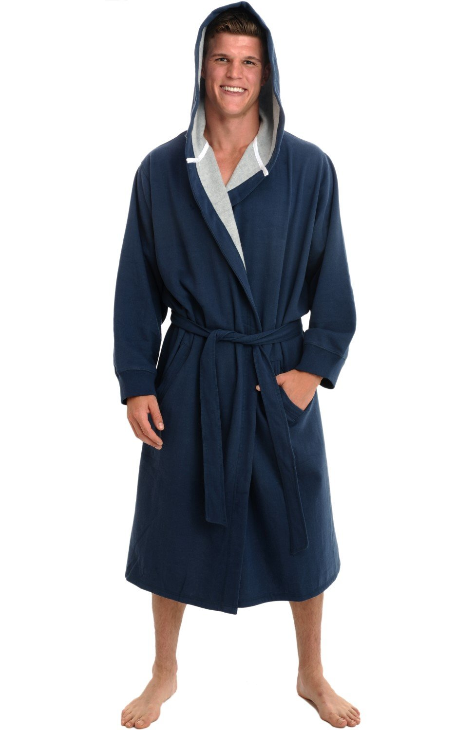 Alexander Del Rossa Mens Cotton Robe, Sweatshirt Style Hooded Bathrobe, Large XL Midnight Blue (A0311MBLXL)