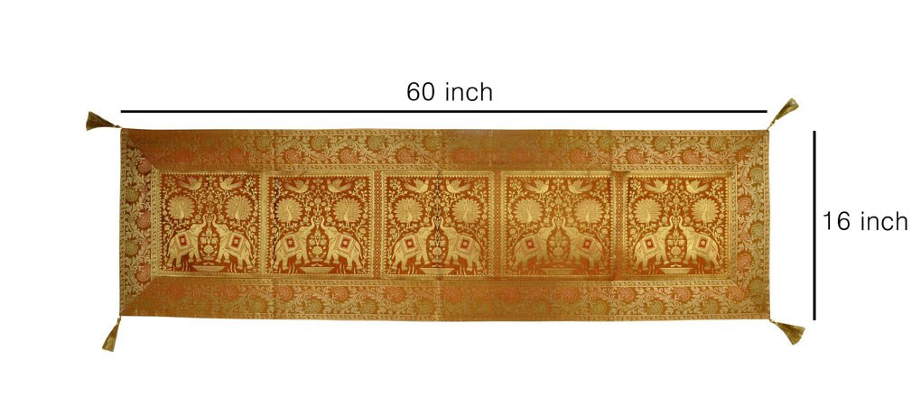 Lalhaveli Gold 152 x 40 Cm Long Silk Table Runner for Wedding, Table Runners fit Rectange and Round Table Decorations for Birthday Parties, Banquets, Graduations, Engagements Lal Haveli TLC00234