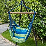 TOUCAN OUTDOOR Hammock Chair with Pillow Set, Blue Green Striped