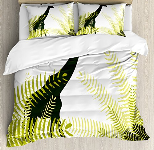 Africa Queen Size Duvet Cover Set by Ambesonne, Silhouette of Giraffe Ferns National Park Terrestrial Tall Animal Print, Decorative 3 Piece Bedding Set with 2 Pillow Shams, Pale Green Dark Green by Ambesonne