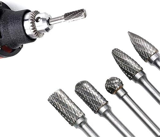 Herramienta de Archivo Rotativo de Lima de Acero de Tungsteno 150-160 mm Gasea 4pcs Fresa Metal L/ápices Set Taladro Bit Conjunto de Taladro Rotativo de V/ástago de Acero de Tungsteno S/ólido