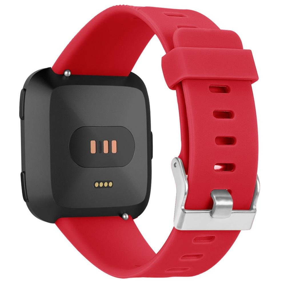 Fashion Replacement Small Size Sports Strap for Fitbit Versa - Silicone Twill Bracelet Strap Band For Fitbit Versa (Red)