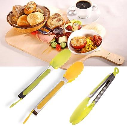 Pinzas de cocina de silicona para barbacoa, antideslizantes, de fácil agarre, mango de