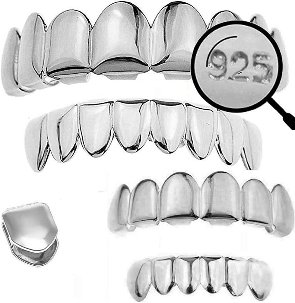 Harlembling Solid 925 Sterling Silver Grillz - 6 Or 8 Tooth Or Single Caps/Top & Bottom Grills for Teeth - Real Solid Silver Fronts Don't Change Color