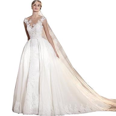 Thrsaeyi Women\'s Lace Sleeveless Wedding Dresses V-Neck Lace Beaded ...