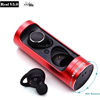 SZROBOY Wireless Earphones,Bluetooth Earbuds V 5.0 360 Free Rotation Wireless Stereo Sports Headphones (Rose Red)