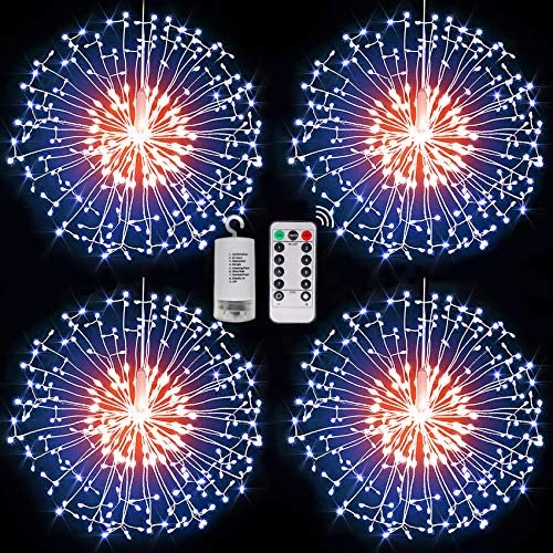 4 Pack 198 LED Dandelion Fairy Firework String Lights, 8 Modes Dimmable String Fairy Lights with Remote Control,Waterproof Copper Wire Decorative Hanging Starburst Lights for Christmas Decoration