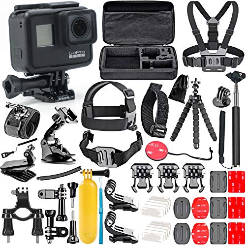 GoPro Hero 7 Black with 50 Piece Action Accessory Kit - Straps...