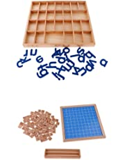 MagiDeal Kids Educational Game 1-100 Wooden Board Math Counters Toys + Alphabets Box