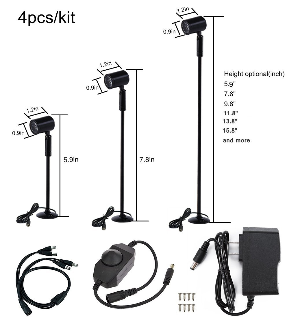 Xking 4pcs/kit Pole Type Dimmable Display Lights Black Finish DC12V with Rotary Dimmer (Warm White(3000K), Base B.5.9'')