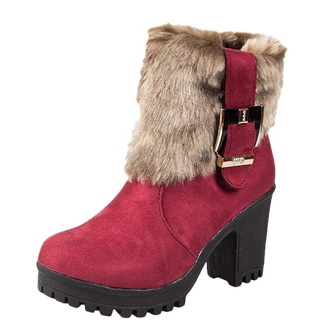YiYLunneo Botas de Nieve Mujer Invierno Tacon Botines