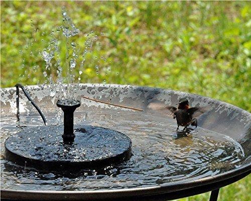 Royalsell Solar Fountain Pump, Free Standing 1.4W Bird Bath Fountain Pump for Garden and Patio, Solar Panel Kit Water Pump (Black)