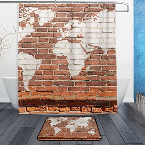 BAIHUISHOP Antique Wall Brick World Map Graffiti 3-Piece Bathroom Set, Machine Washable for Everyday Use,Includes 60x72 Inch Waterproof Shower Curtain, 12 Shower Hooks and 1 Non-slip Bathroom Rug Ca