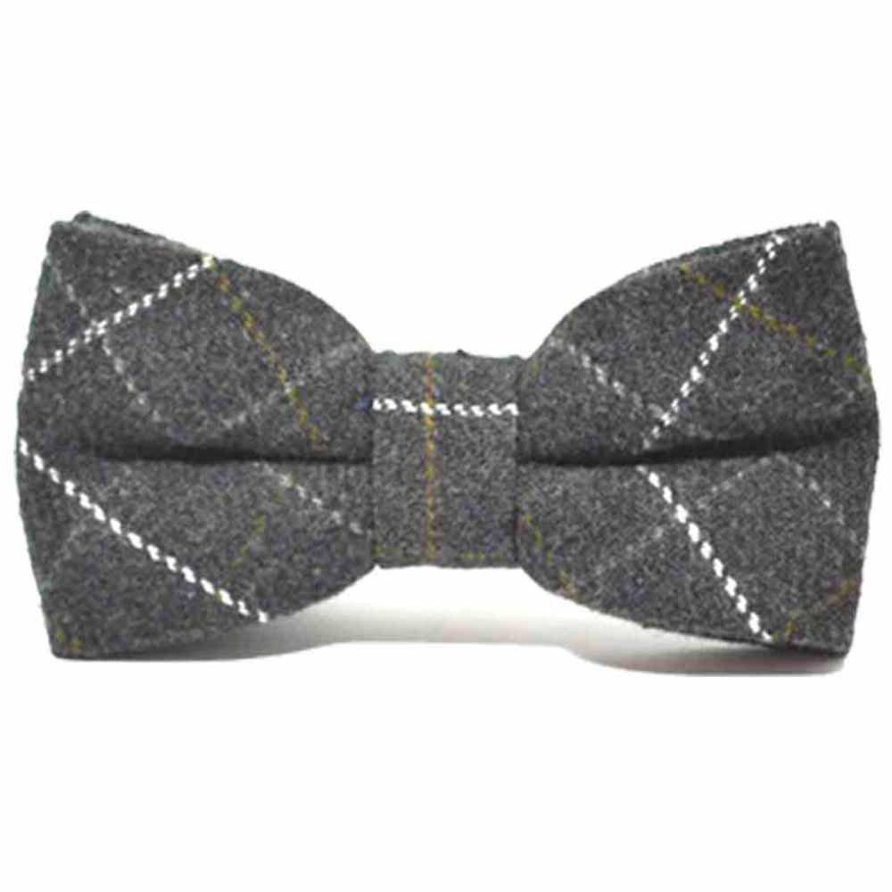 Heritage Check Charcoal Grey Bow Tie Tweed