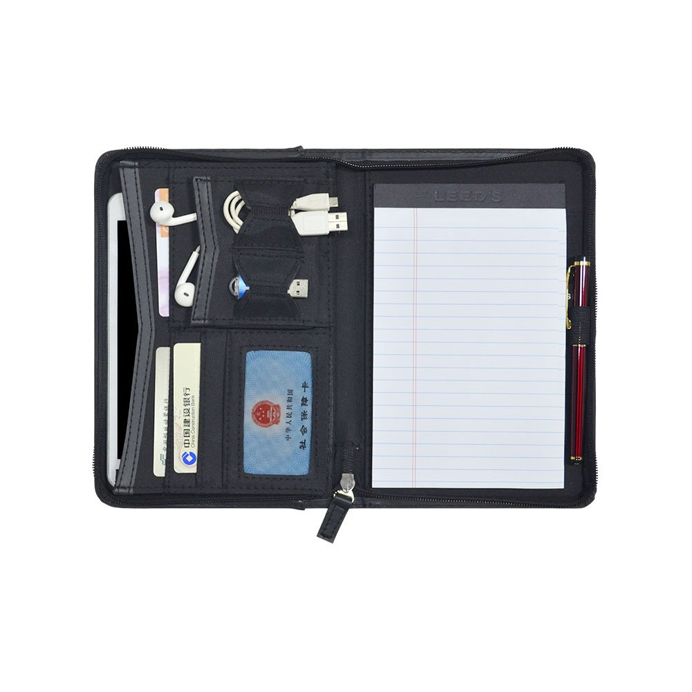 Godery Padfolio/Portfolio, Leather Zippered Padfolio Portfolio Binder 5 x 8 Legal Writing Pad, Professional Business Portfolio for Men & Women, Card Holder, Notepad Clipboard Holder (Black)