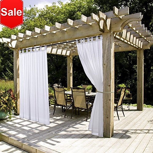 Cheap NICETOWN White Outdoor Curtain and Drape for Pergola Lightweight Mildew Resistant Tab Top Sheer Voile Panel with Rope Tie Back (1 Pack, 54 Inch Wide by 108 Inch Long, White)