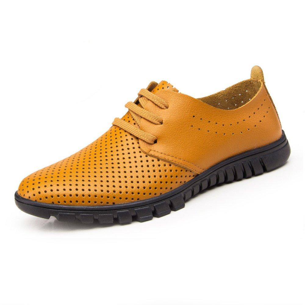 YXLONG Weiche Männer Schuhe Sommer Atmungsaktiv Hohlen Herrenschuhe Lederschuhe Business Casual Schuhe Herrenschuhe Hohlen laceyellow(withventilationholes) 62b30e