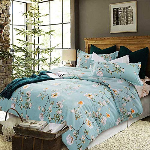 Duvet Cover Queen Set - 90x90 Luxury Floral Farmhouse Microfiber Soft Lightweight Duvet Quilt Covers with Zip Ties - 3 Piece (1 double cover, 2 bed pillowcase) for Women Men, Green Teal White Flower (Duvet Country Set Covers)