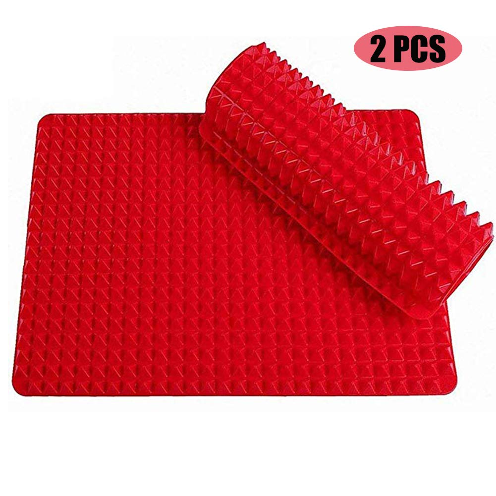 Silicone Baking Mat,Non-stick Pastry with Fat Reducing Healthy Cooking Heat-Resistant for Oven Grilling BBQ 15.1 x 10.6Inch,2 Pcs (Red)
