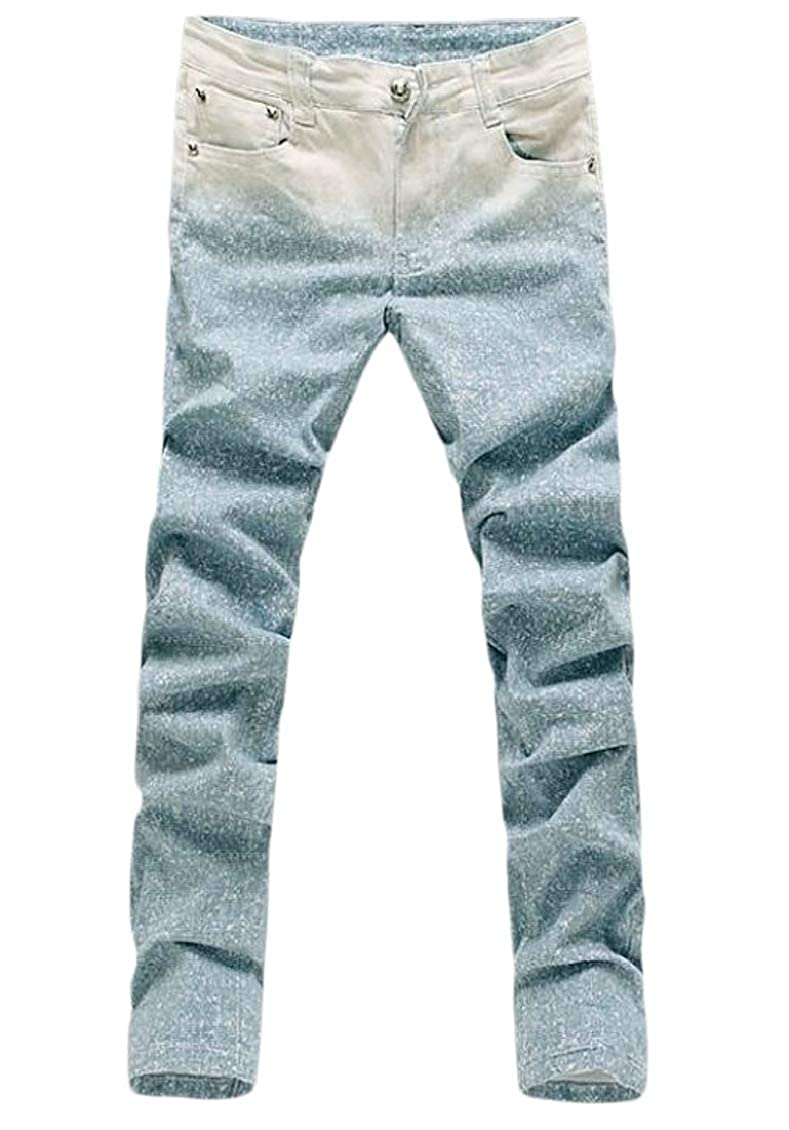 SELX Men Moto Summer Biker Stretchy Straight Gradient Color Denim Jeans Pants