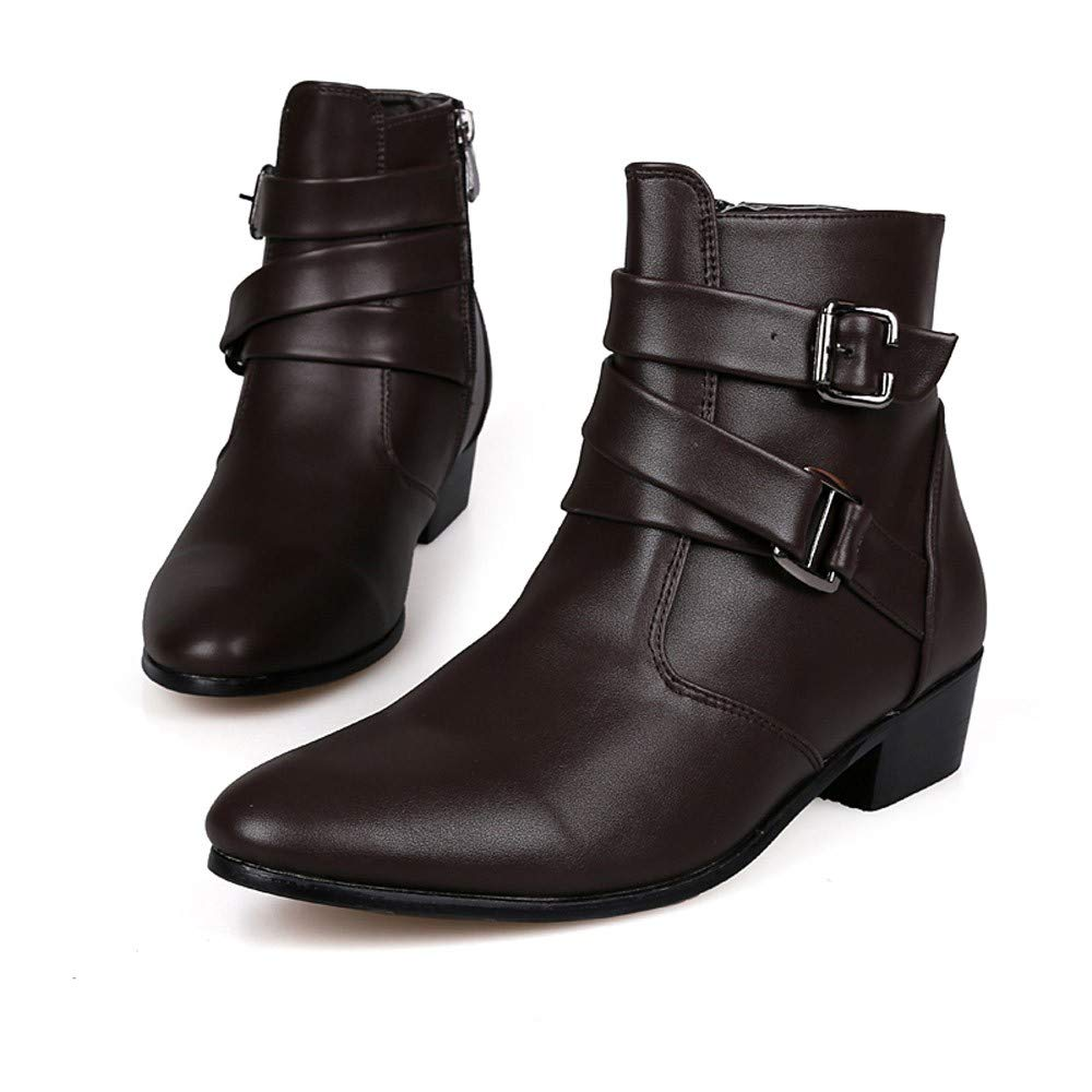 Fiaya Mens Leather Chelsea Boots Motorcycle Martin Boots Zipper Buckle Western Formal Dress Boots (Black, US:9.5)