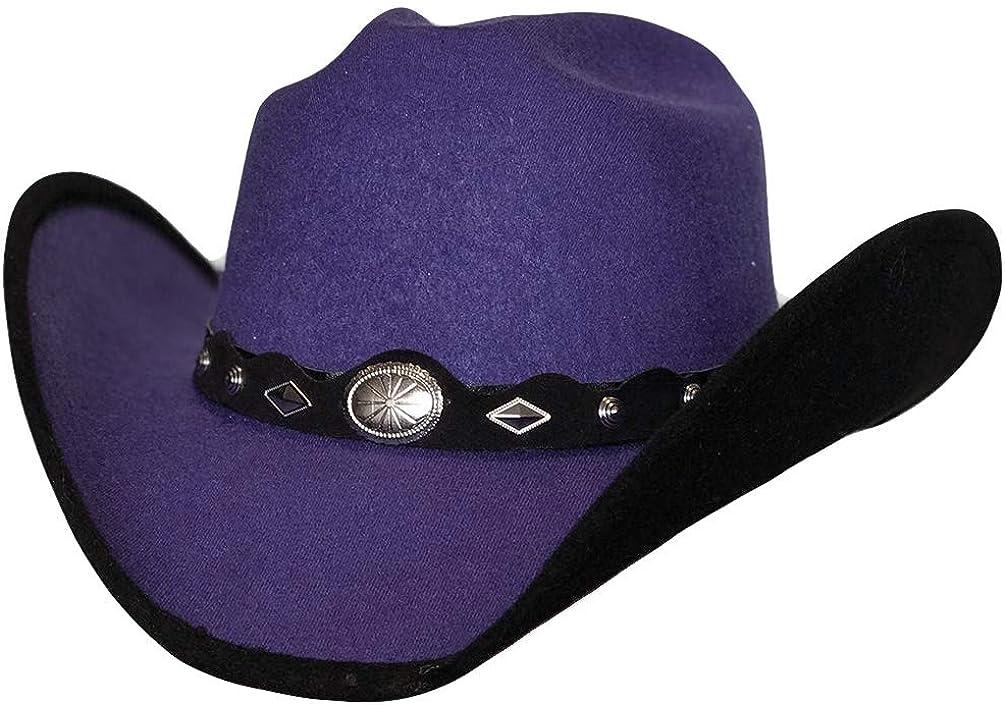 Modestone Bangora Straw Cowboy Hat Fabric Brim Edge Horse Hair Hatband White