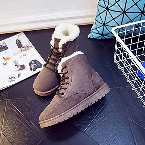 De Suédé Laine Automne Martin 37 Brun Lacets Pure Neige Chaussures Couleur Loisir Hiver Femmes Wedge Inconnu Bottes Artificielle qXEwz