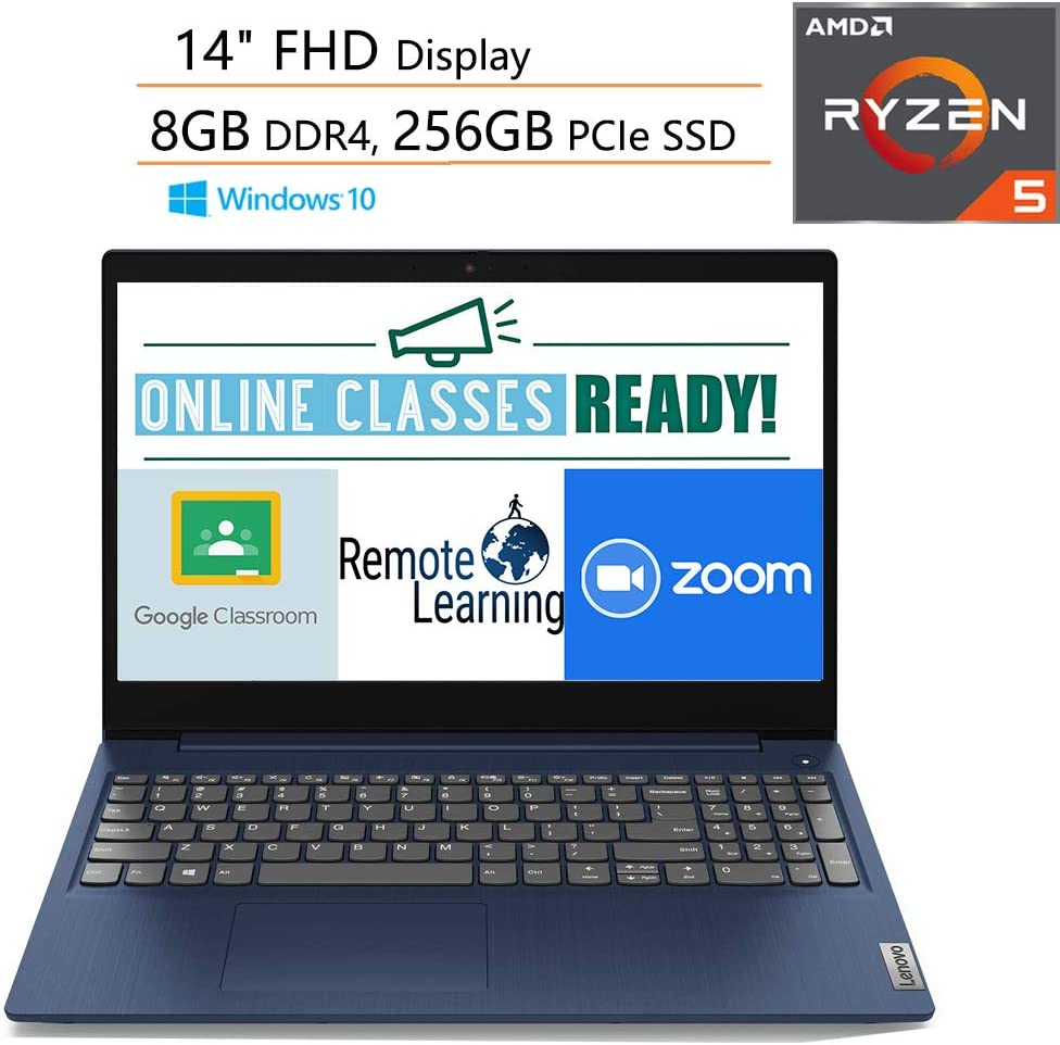 "Lenovo Ideapad 3 14 14"" FHD Laptop Computer/ AMD Ryzen 5 3500U Quad-Core Up to 3.7GHz (Beats I7-7500U)/ 8GB DDR4 RAM/ 256GB PCIe SSD/ Online Class Ready/ Blue/ Webcam/ Windows 10/ iPuzzle Mousepad"