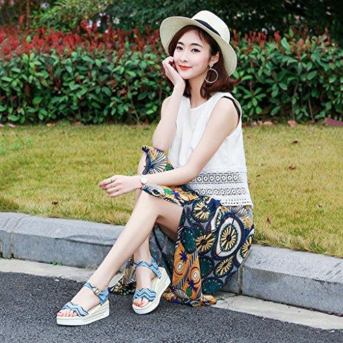 Signora zeppa Blue la con da da Sandali piatti nuovi Sandali Feng gioco sandali esterno suola 36 Sandali casual Estate con spessa Ye Blue da Shop Sandali Size Color Li donna 60HCqAw6