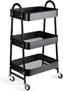 CRZDEAL Rolling Utility Cart Heavy Duty 3-Tier Metal Storage Trolley Service Cart with Wheel for Office Home Kitchen Bathroom Bedroom