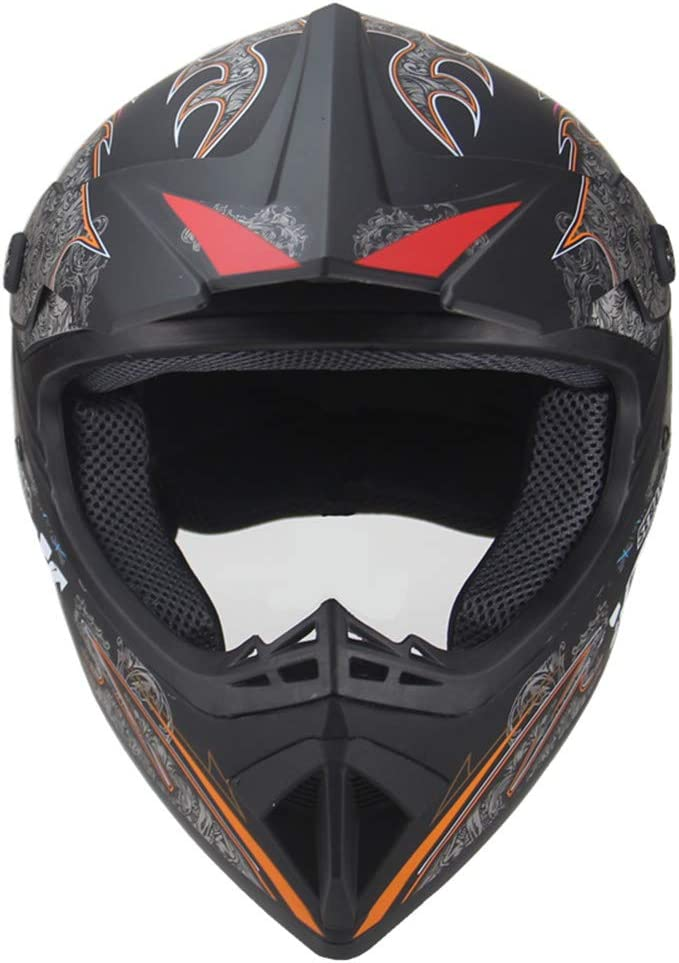Breathable All Seasons Available,White,S Boys and Girls Protective Full Helmets Young Adult Motocross Helme SUV Goggles Gloves Fashionable Off-Road Bike Bicycle Helmets